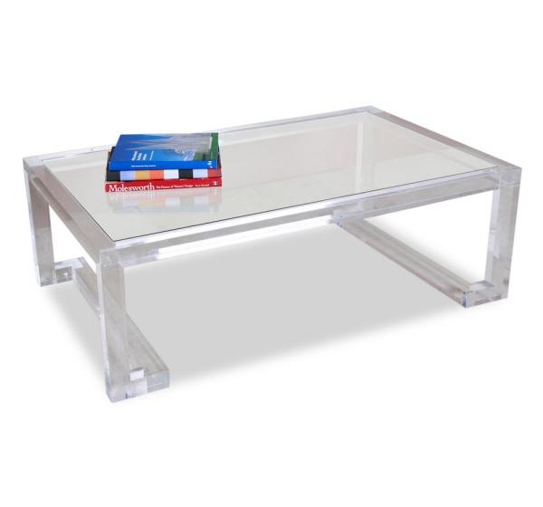 Interlude Ava rectangular acrylic cocktail table