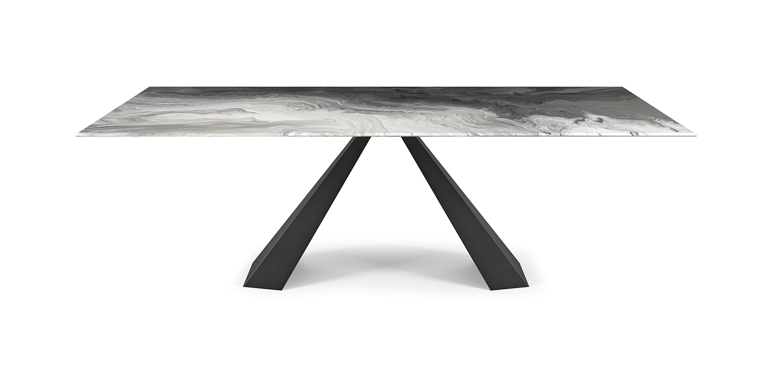 CATTELAN ITALIA ELIOT TABLE WITH CRYSTALART GLASS TOP
