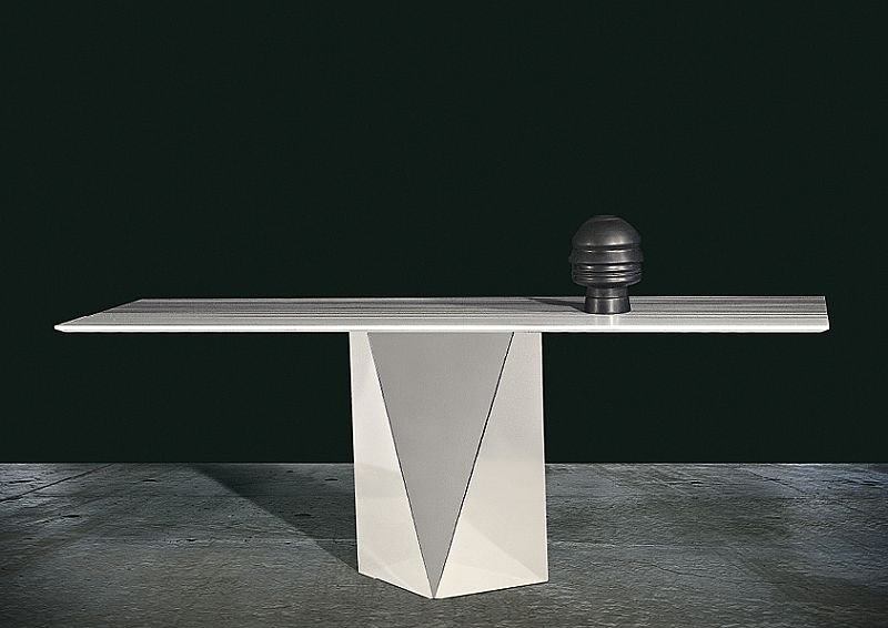 Stone Intl freedom console stainless steel base & marble top