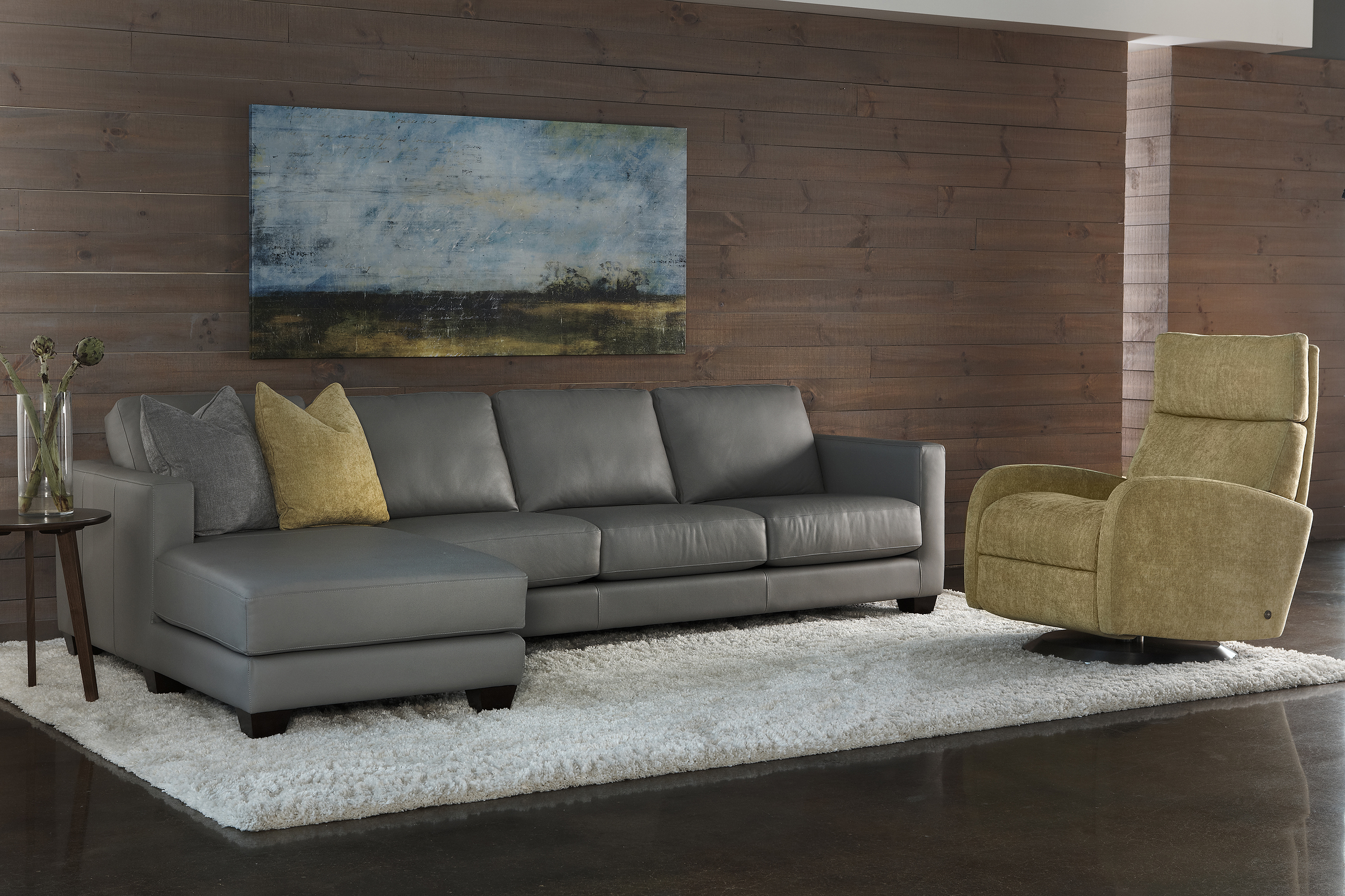 American Leather solid walnut collection Alessandro sectional