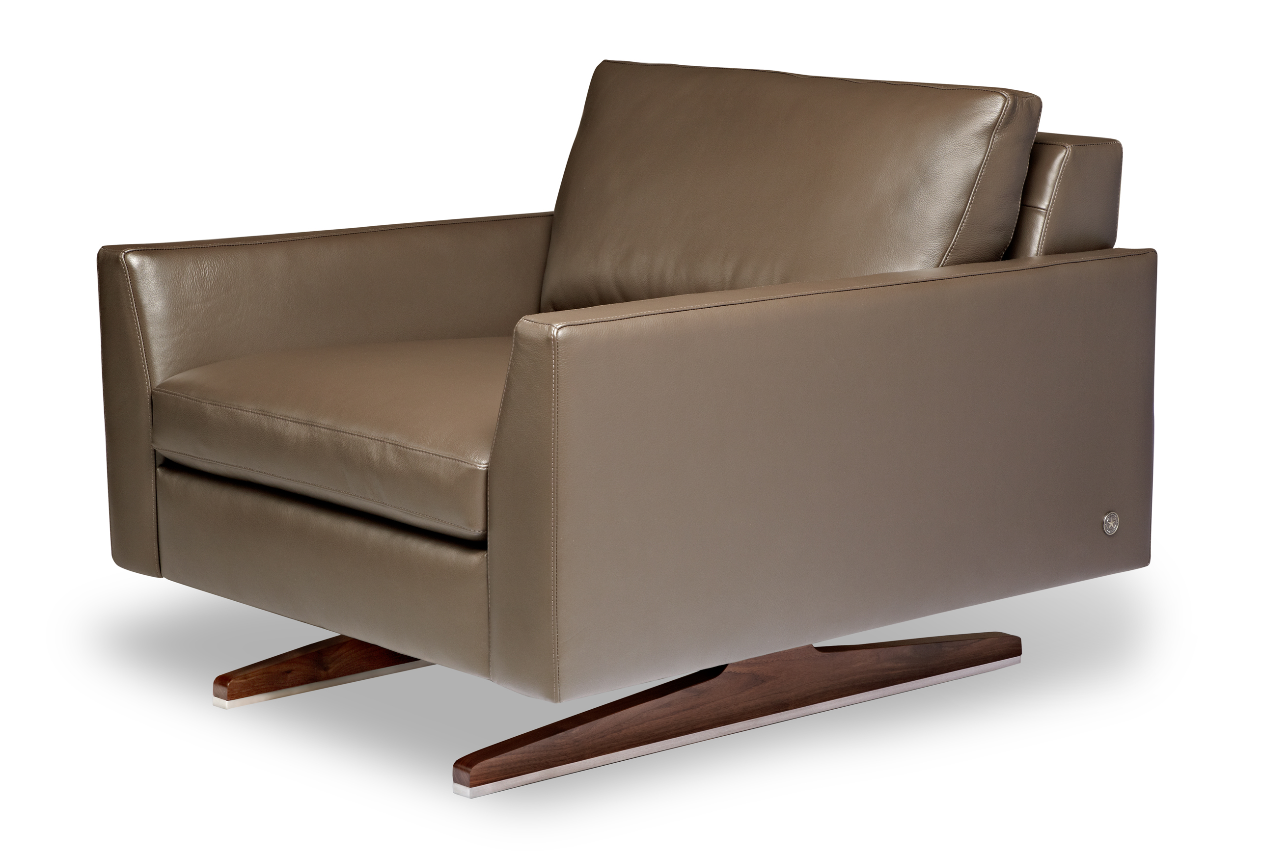 American Leather solid walnut collection Flynn chair
