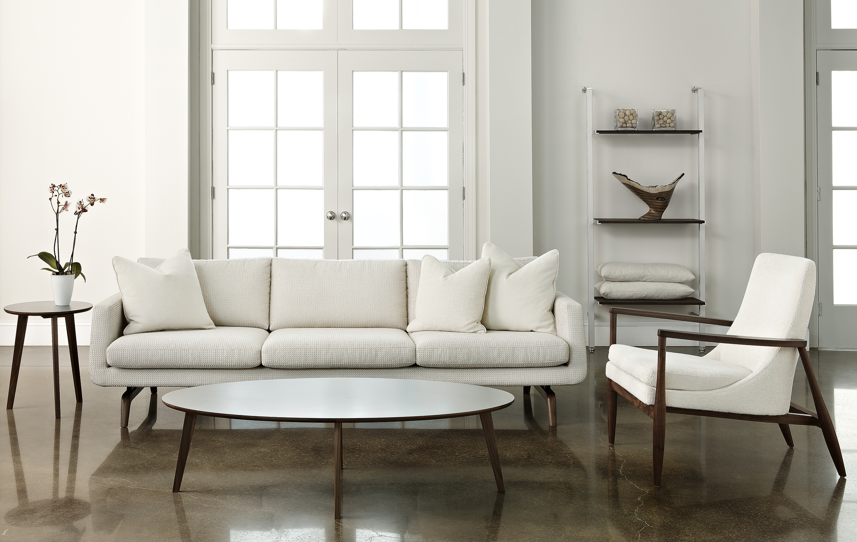 American Leather Solid Walnut collection Nash sofa with Aaron chair