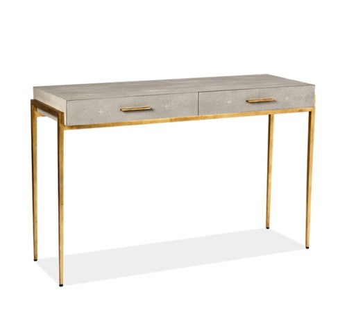 MORAND CONSOLE DESK IRON GOLD LEAF WITH FAUX SHAGREEN IN TAUPE