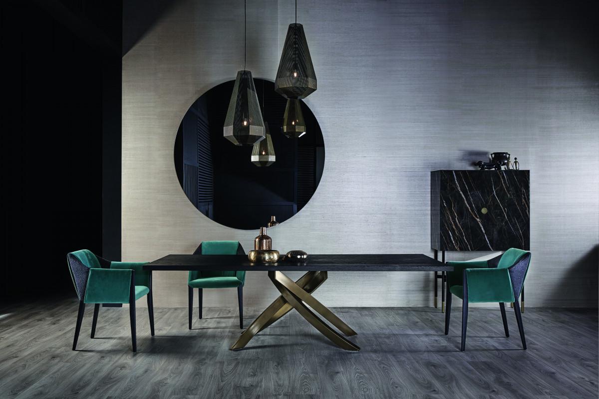 Bontempi Casa artistico dining base with wood top
