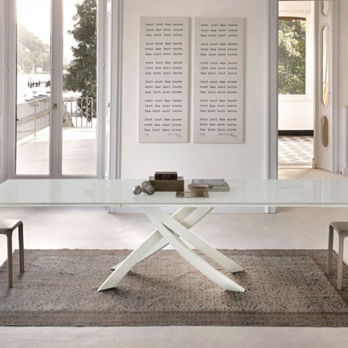 Bontempi Casa artistico base withwhite glass top & extensions