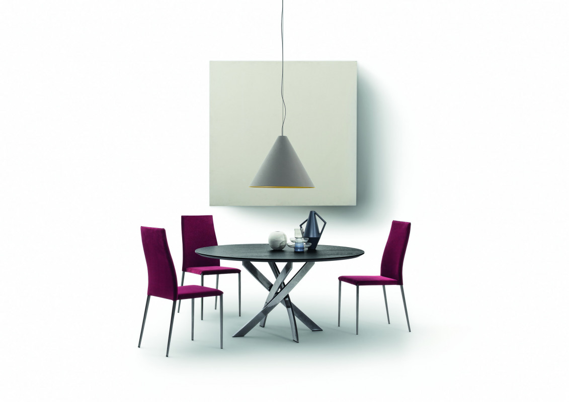 Bontempi Casa barone round dining table with slate top