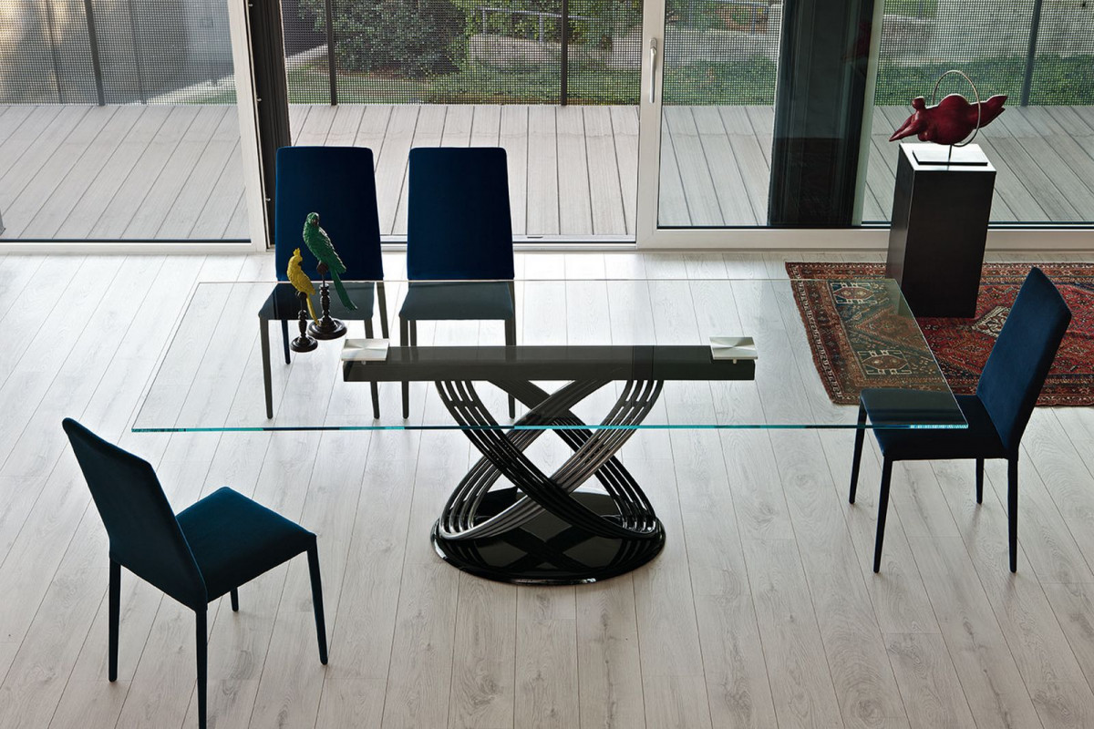 Bontempi Casa fusion dining base with glass top
