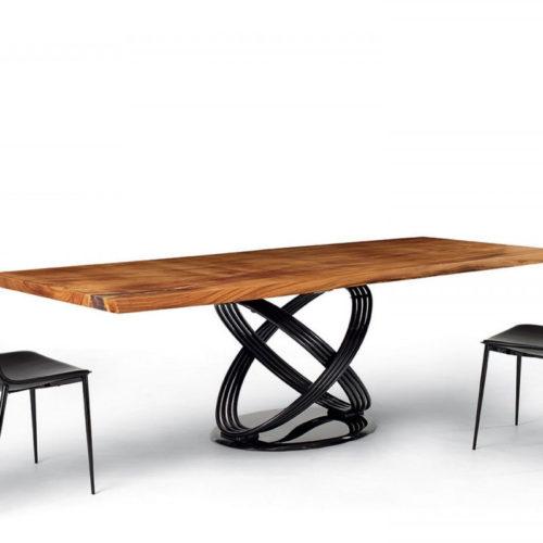 Bontempi Casa fusion dining base with wood top