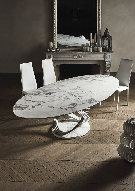 Bontempi Casa fusion dining base with oval ceramic top
