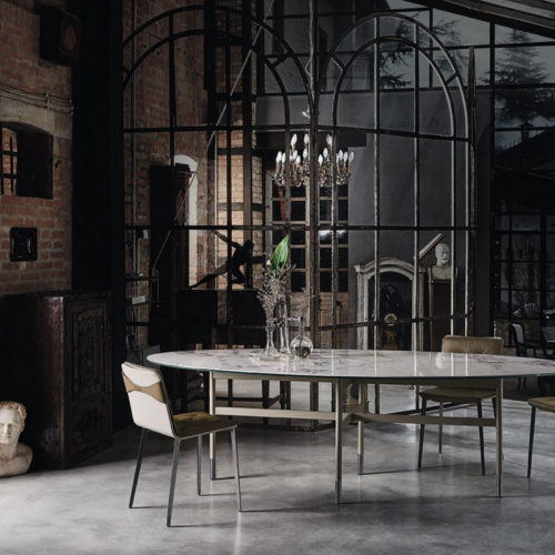 Bontempi Casa glamour oval dining table with ceramic top