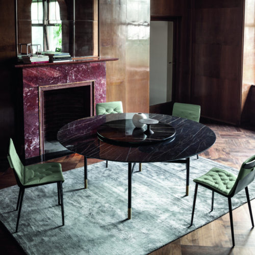 Bontempi Casa glamour round dining table with ceramic top